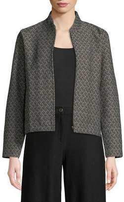Eileen Fisher Rosette Jacquard Zip-Front Long-Sleeve Short Jacket