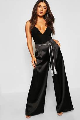 boohoo Satin Wide Leg Tassel Belt Trousers