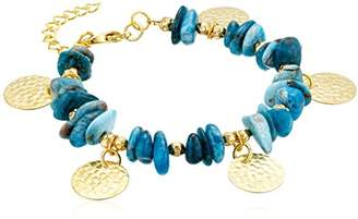 Panacea Women's Teal Chip Stone Disk Charm Bracelet