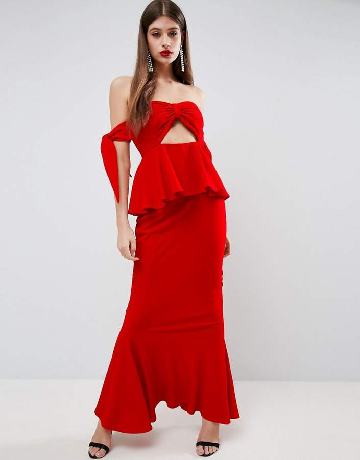 AsosASOS Havana Tie Bow Front Maxi Dress