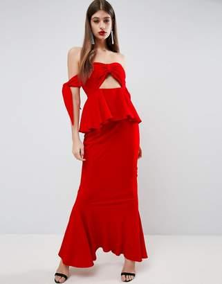 Asos Havana Tie Bow Front Maxi Dress