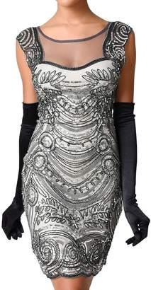 Aecibzo Vintage 1920s Gatsby Inspired Sequin Embellished Cocktail Flapper Dress