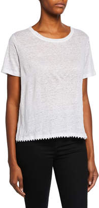 Majestic Scoop-Neck Short-Sleeve Boxy Linen T-Shirt