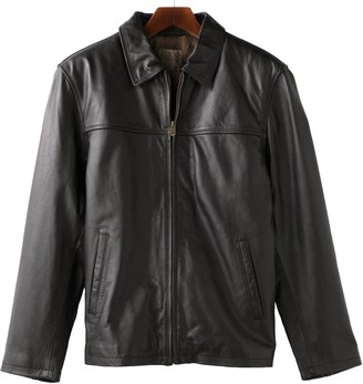 Reilly Olmes Men's R and O Open-Bottom Leather Bomber Jacket
