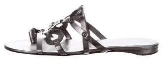 Diane von Furstenberg Metallic Slide Sandals