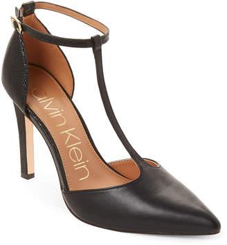 Calvin Klein Black Leather Brandy T-Strap Heels