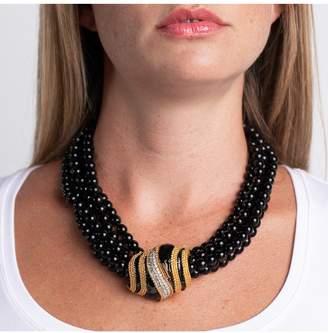 Kenneth Jay Lane 5 Row Black Bead Necklace