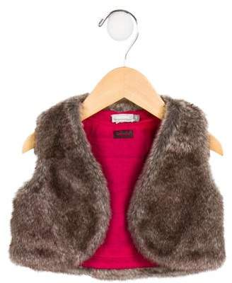 Catimini Girls' Faux Fur Open Front Vest