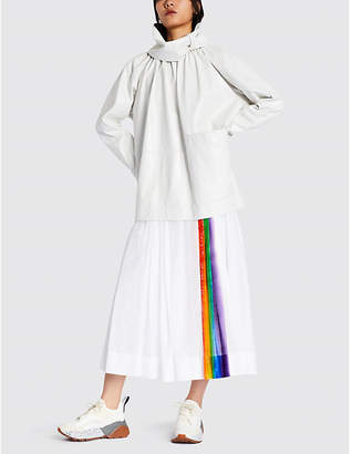 Burberry Morlaix rainbow striped cotton midi skirt
