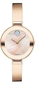 Movado Women's Bold Rose Gold Ion-Plated Stainless Steel Bangle Watch