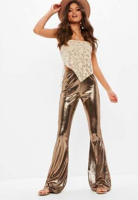 Missguided Tall Brown Metallic Flare Pants