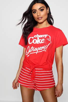 boohoo Lola Cherry Coke Tie Front PJ Short Set