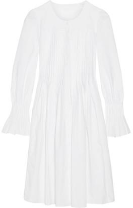 Co - Pleated Cotton-poplin Dress - White $595 thestylecure.com