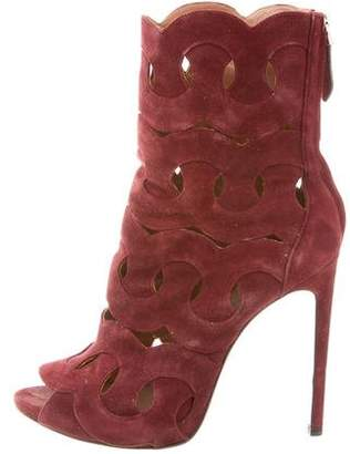 2acfcbfebbb5 Pre-Owned at TheRealReal · Alaia Peep-Toe Laser Cut Ankle Boots
