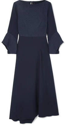 Roland Mouret Hemming Cloqué And Crepe Midi Dress - Navy