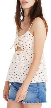 Madewell Strawberry Tie Front Keyhole Camisole