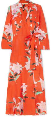Diane von Furstenberg Floral-print Cotton And Silk-blend Gauze Wrap Dress - Red