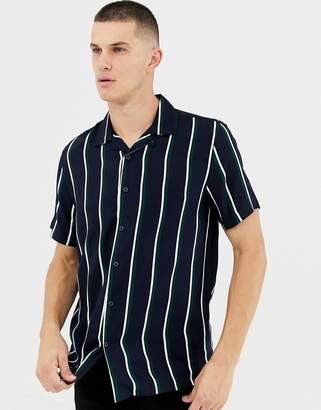 New Look regular fit viscose shirt with revere collar in navy stripe
