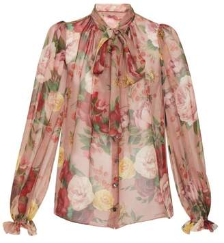 Dolce & Gabbana Floral Pussy Bow Silk Blouse - Womens - Pink Multi