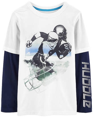 Carter's Athletic Doubler Football Long Sleeve Round Neck T-Shirt-Preschool Boys