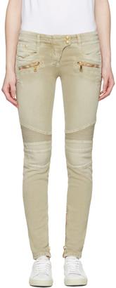 Balmain Beige Distressed Biker Jeans $1,325 thestylecure.com
