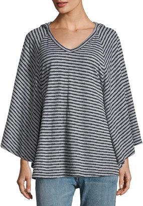 Allen Allen V-Neck Cape-Sleeve Striped Hoodie $69 thestylecure.com