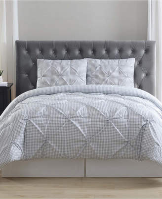 Truly Soft Everyday Gingham Pinch Pleat 3 Pc King Duvet Cover Set Bedding