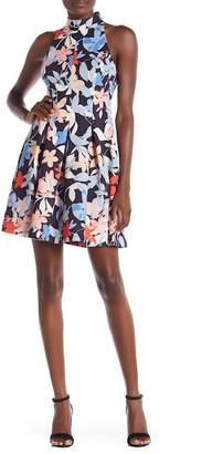 Vince Camuto Halter Print Scuba Dress