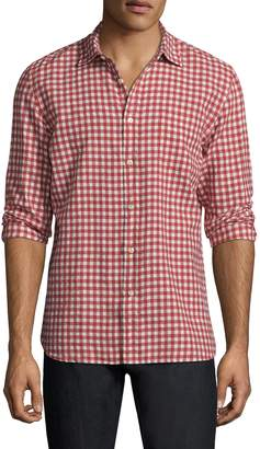 Jachs Men's Gingham Spread Collar Sportshirt