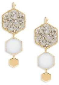 Panacea Goldplated White & Grey Crystal Hexagon Drop Earrings