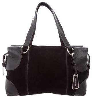 BCBGMAXAZRIA Leather-Trimmed Suede Shoulder Bag