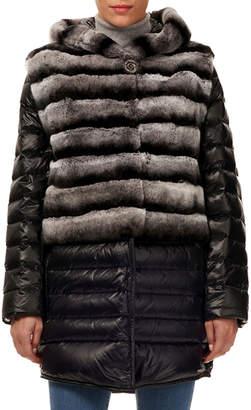Gorski Horizontal-Ribbed Rabbit Fur Jacket with Detachable Down Trim