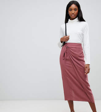 Asos Tall DESIGN Tall wrap front midi skirt with tie front