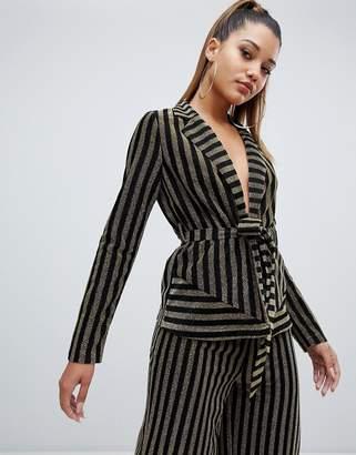 PrettyLittleThing PrettyLitteThing tie waist blazer in metallic stripe
