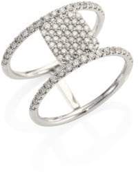 Meira T Pave Diamond& 14K White Gold Double-Band Ring