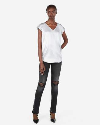 Express Metallic V-Neck Gramercy Tee