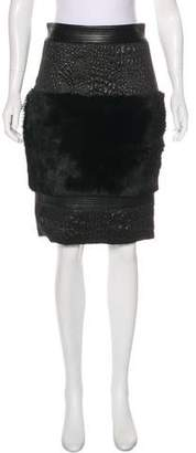 Christian Siriano Shearling & Leather-Trimmed Knee-Length Skirt