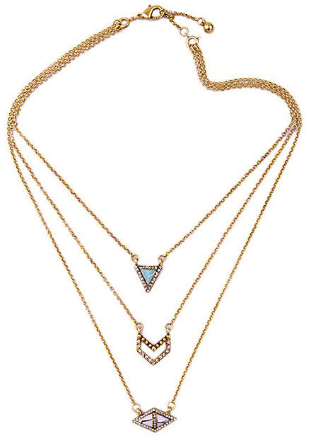Crystal & Gold-Plated Triple Layer Necklace