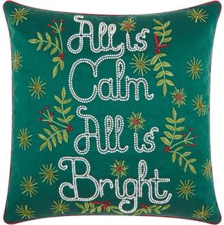 """Nourison Christmas """"All is Calm, All is Bright"""" Green Throw Pillow"""