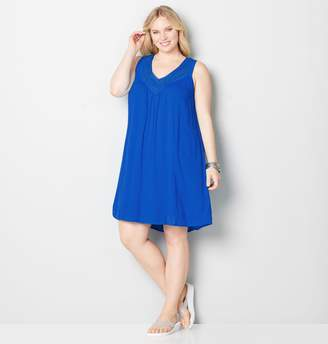 Avenue Embroidered Crinkle A-Line Dress