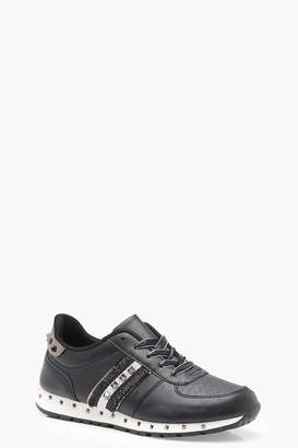 boohoo Stud Lace Up Trainers