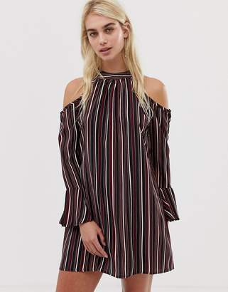 Band of Gypsies Pinstripe Cold Shoulder Dress