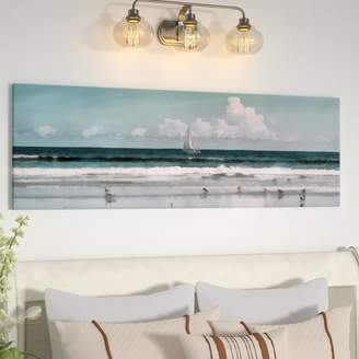 Three Posts 'Sailboat Beach Scene' Graphic Art Print on Canvas