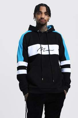 boohoo Drop Shoulder Colour Block MAN Hoodie