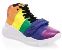 Burberry Rainbow Leather High-Top Sneakers