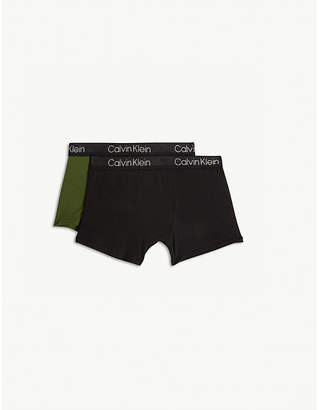 Calvin Klein Perforate cotton-blend boxer trunks set of two 8-16 years