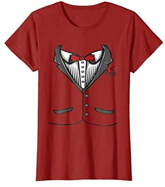 Funny Tuxedo Costume T-Shirt With Red Bow Tie