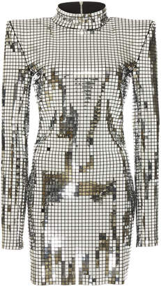 Balmain High-Neck Silver Mini Dress