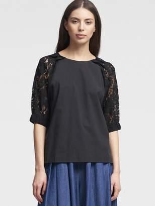 DKNY Poplin Lace-Sleeve Top