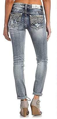Miss Me Junior's Mid-Rise Cuffed Ankle Skinny Jeans with Embroidery